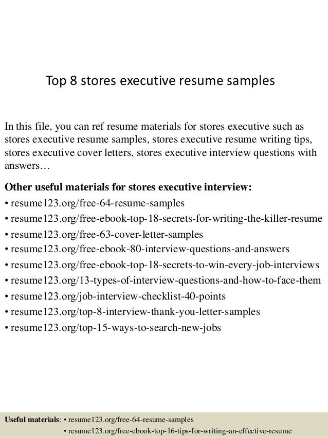 Top 8 Stores Executive Resume Samples