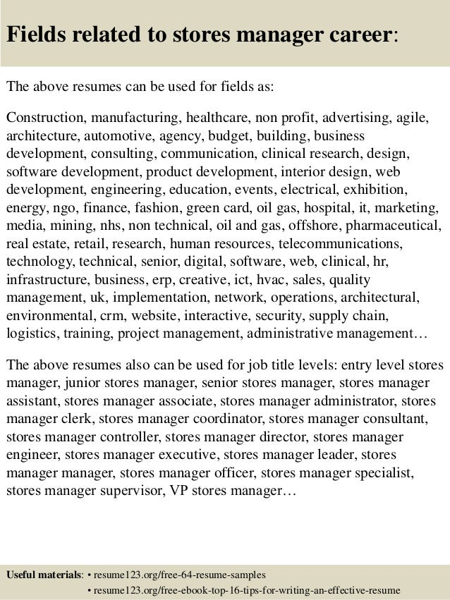 Top 8 Stores Manager Resume Samples