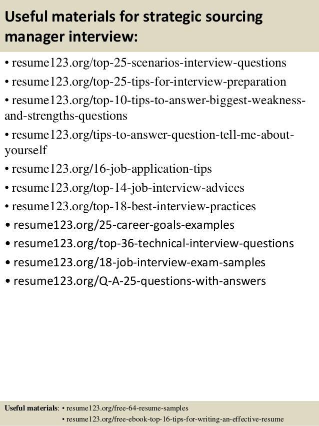 top 8 strategic sourcing manager resume samples