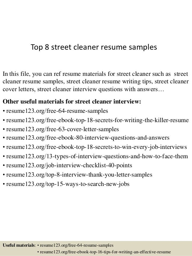 top 8 street cleaner resume samples in this file you can ref resume materials for
