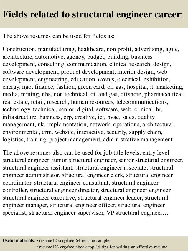 ... 16. Fields Related To Structural Engineer Career: The Above Resumes ...