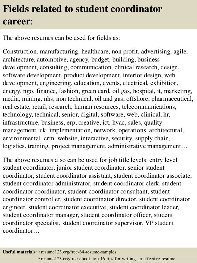 16 fields related to student coordinator - Student Teaching Coordinator Sample Resume
