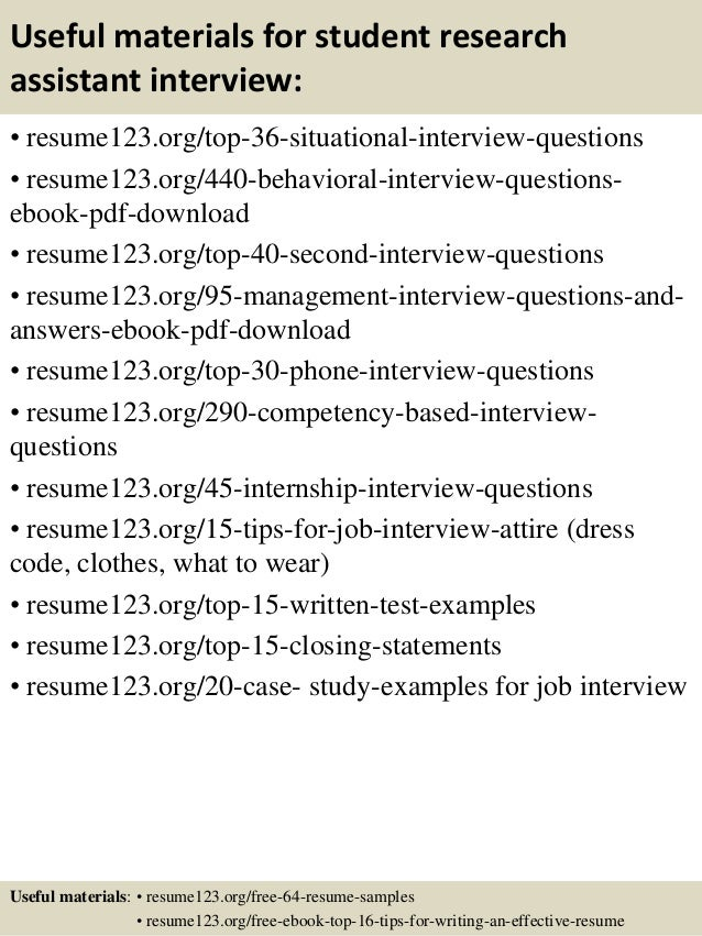 Top 8 Student Research Assistant Resume Samples