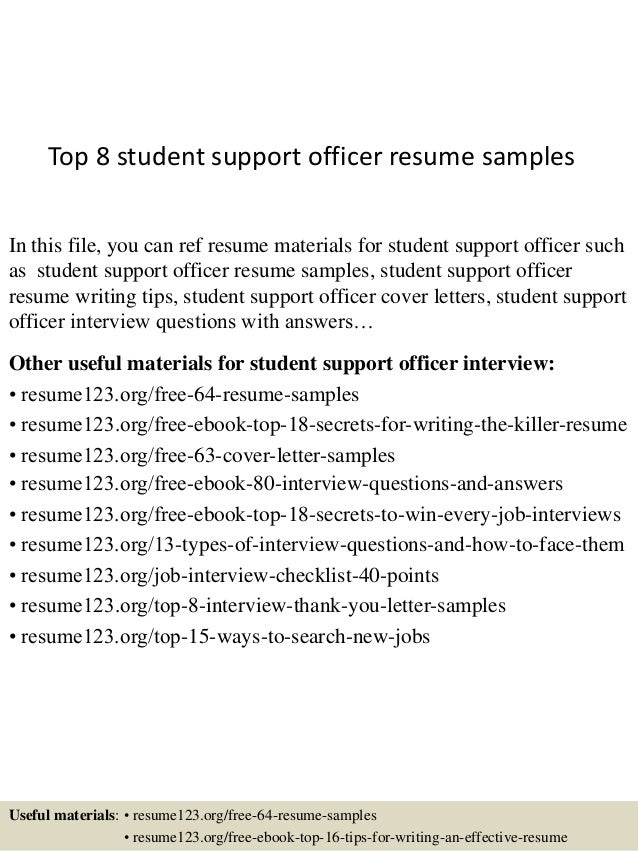 Top 8 Student Support Officer Resume Samples In This File, You Can Ref  Resume Materials ...
