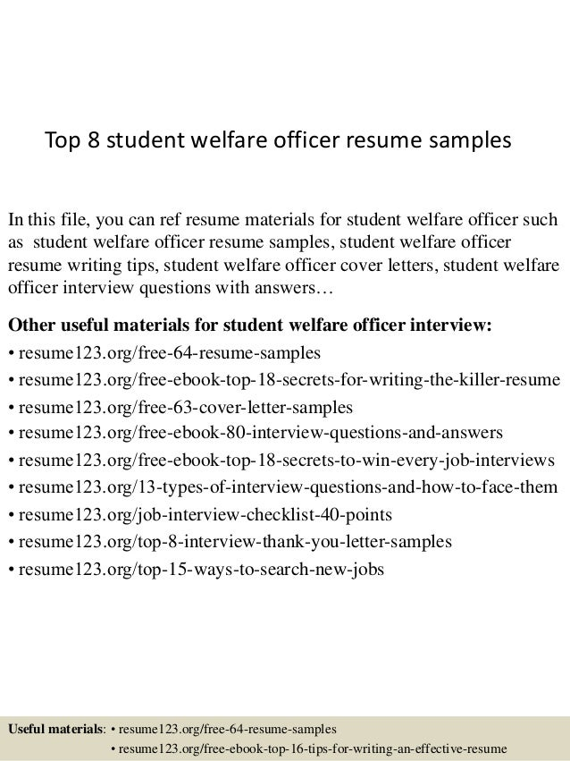 top 8 student welfare officer resume samples in this file you can ref resume materials
