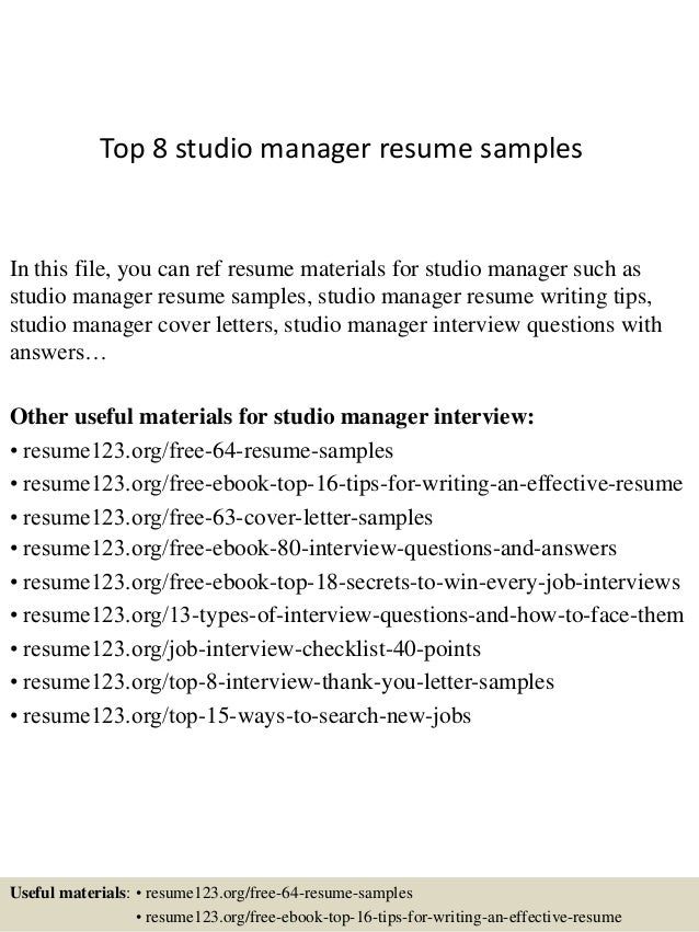 Top 8 Studio Manager Resume Samples In This File You Can Ref Materials For