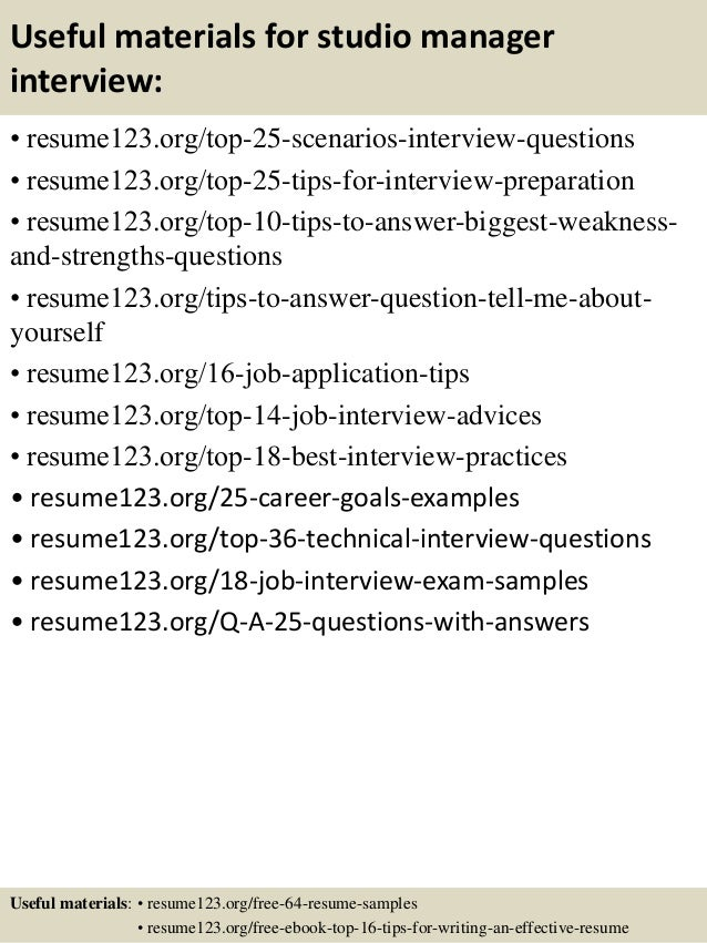 Top 8 Studio Manager Resume Sles