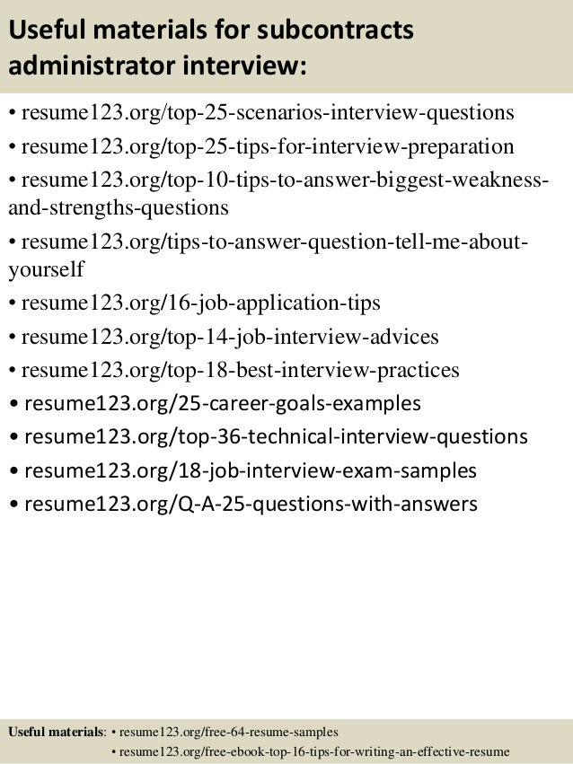 top 8 subcontracts administrator resume samples