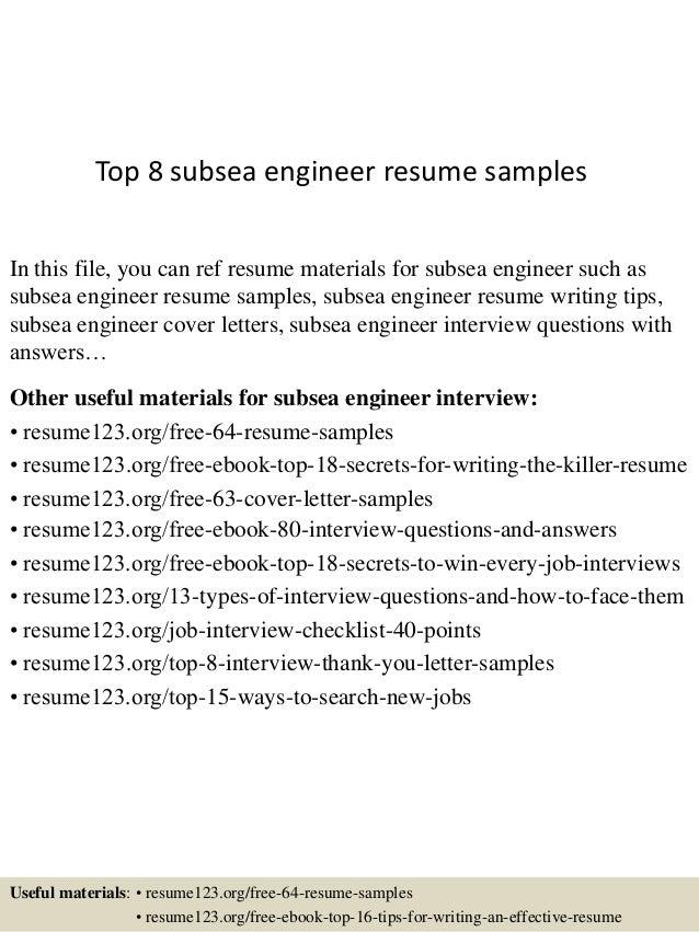 Subsea engineer resume