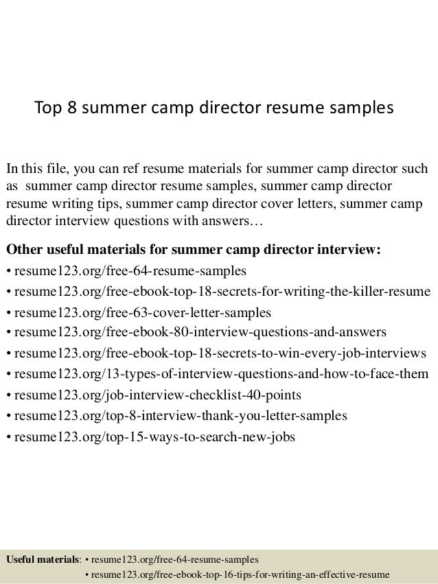 top 8 summer camp director resume samples in this file you can ref resume materials - Cover Letter For Summer Camp