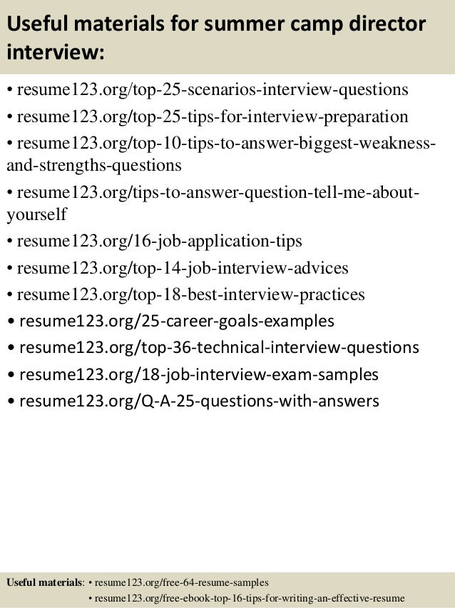 13 useful materials for summer camp director - Camp Manager Sample Resume