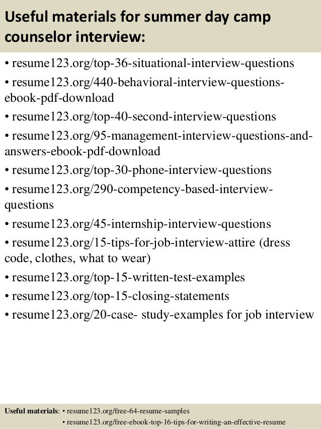 Top 8 summer day camp counselor resume samples