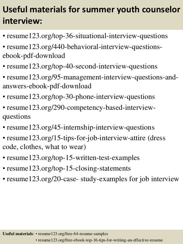 ... 12. Useful Materials For Summer Youth Counselor ...  Youth Counselor Resume