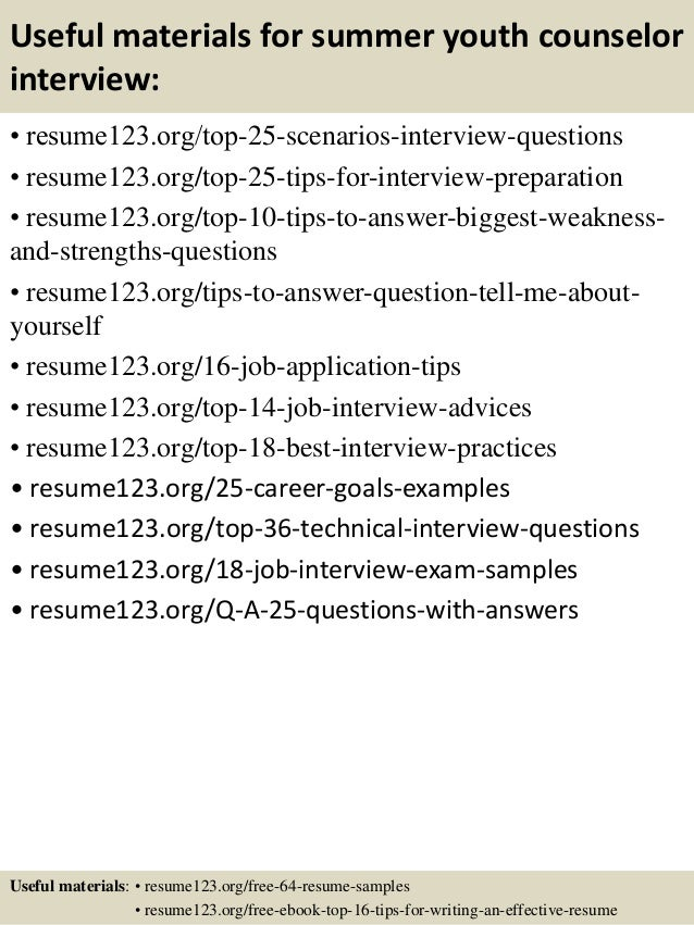 ... 13. Useful Materials For Summer Youth Counselor ...  Youth Counselor Resume