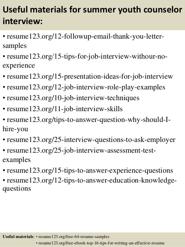 ... 14. Useful Materials For Summer Youth Counselor ...  Youth Counselor Resume
