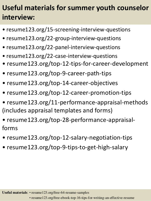 ... 15. Useful Materials For Summer Youth Counselor ...  Youth Counselor Resume