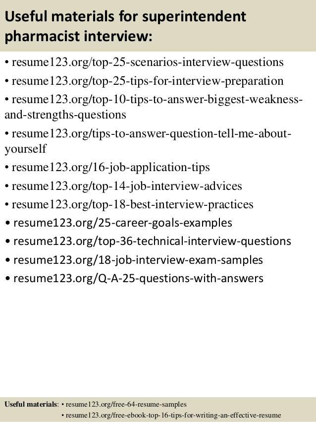 13 useful materials for superintendent pharmacist - Pharmacist Resume Sample