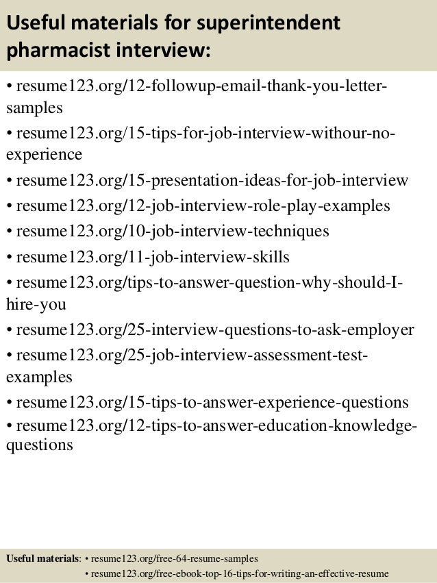 14 useful materials for superintendent pharmacist - Pharmacist Resume Sample