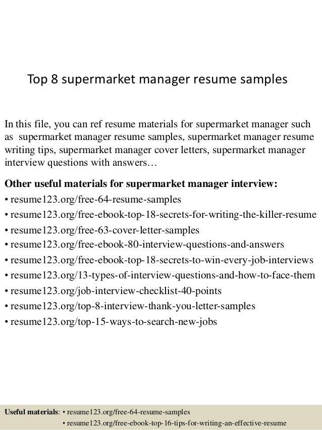 supermarket manager resume