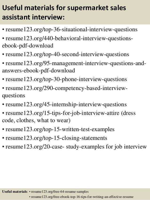top 8 supermarket sales assistant resume samples