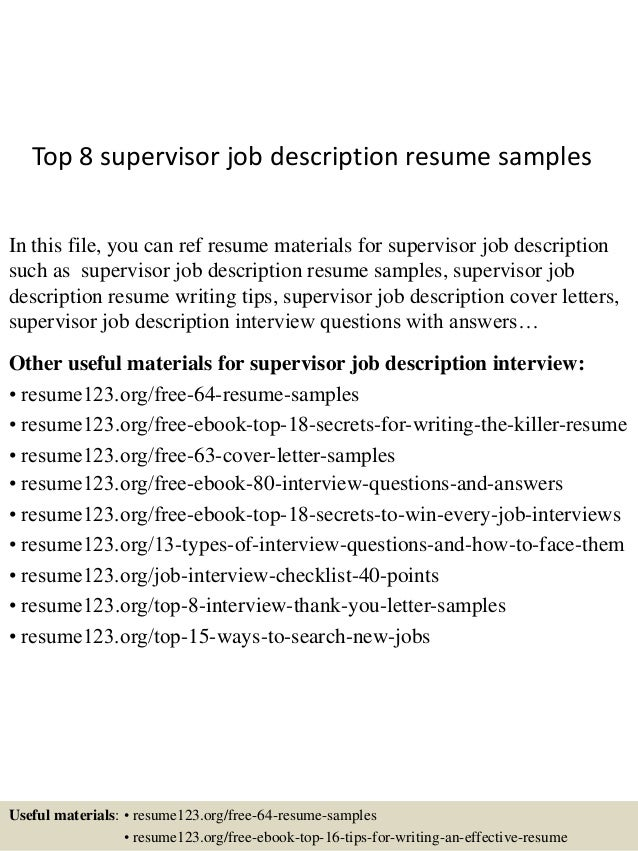 Top 8 Supervisor Job Description Resume Samples