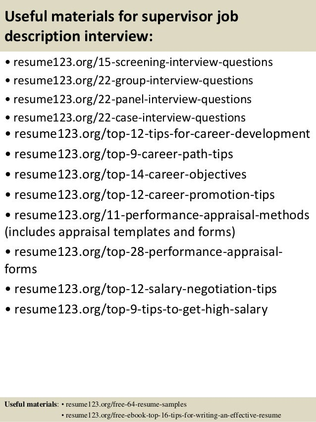 15 useful materials for supervisor job description - Sales Associate Job Description Resume