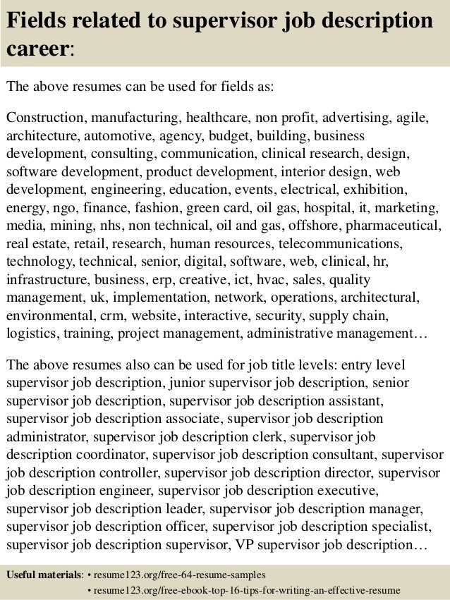 supervisor job description for resumes