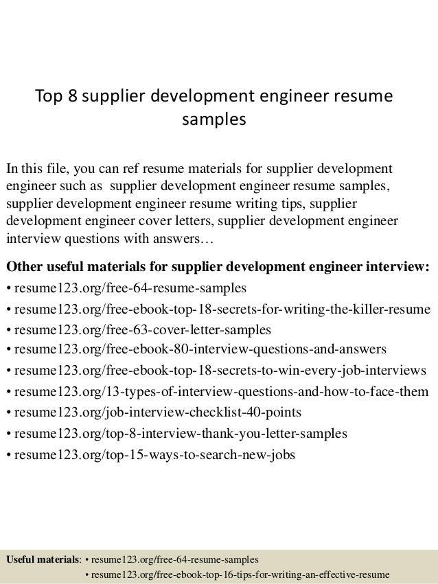 Vendor development engineer resume