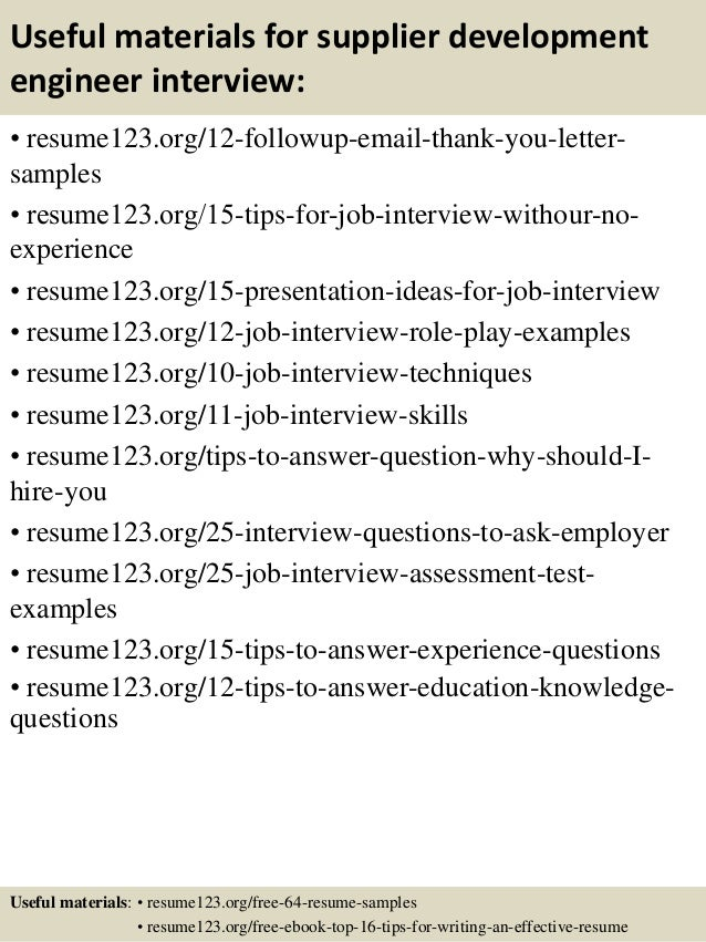 top 8 supplier development engineer resume samples