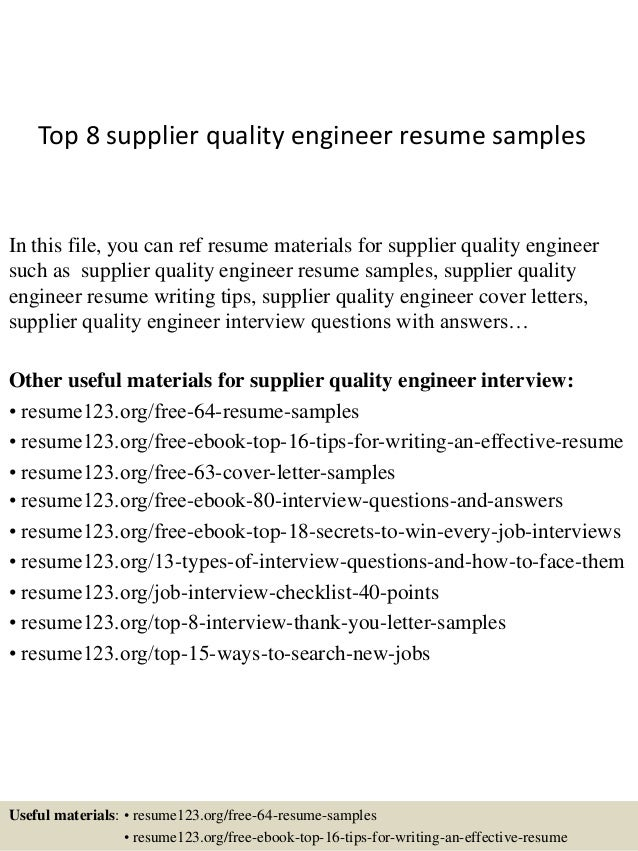 supplier quality resume