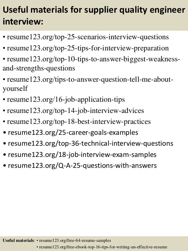 senior quality engineer sample resume senior quality engineer
