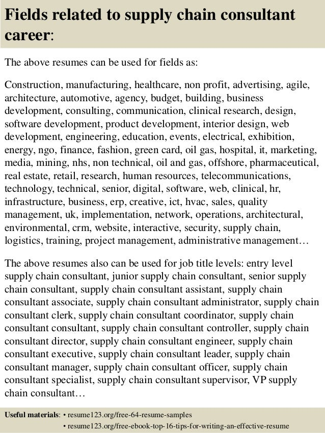 top 8 supply chain consultant resume samples
