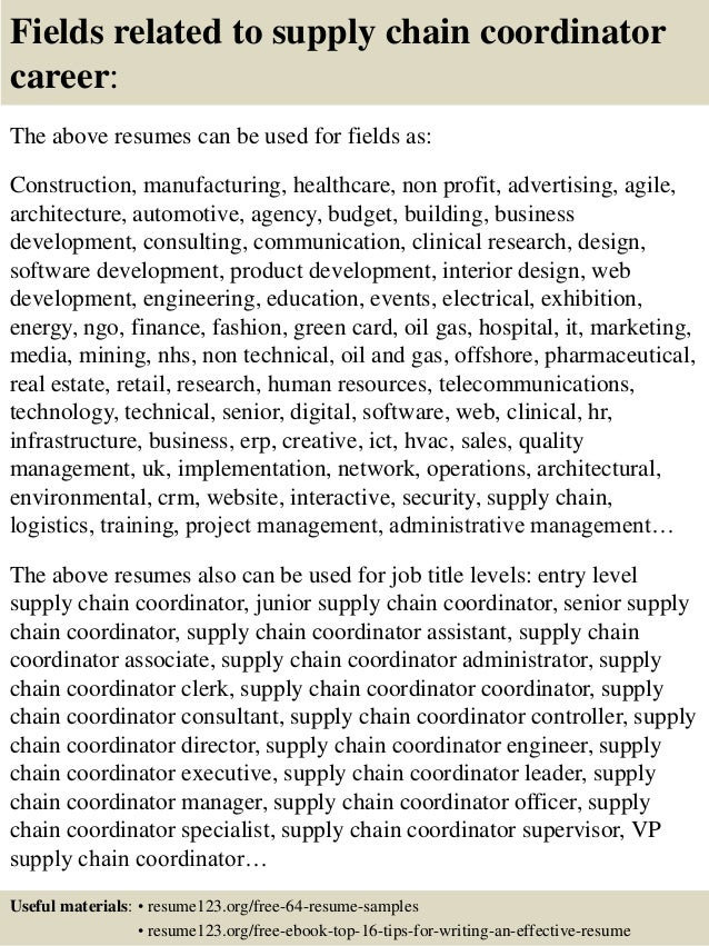 16 fields related to supply chain - Supply Chain Management Resume