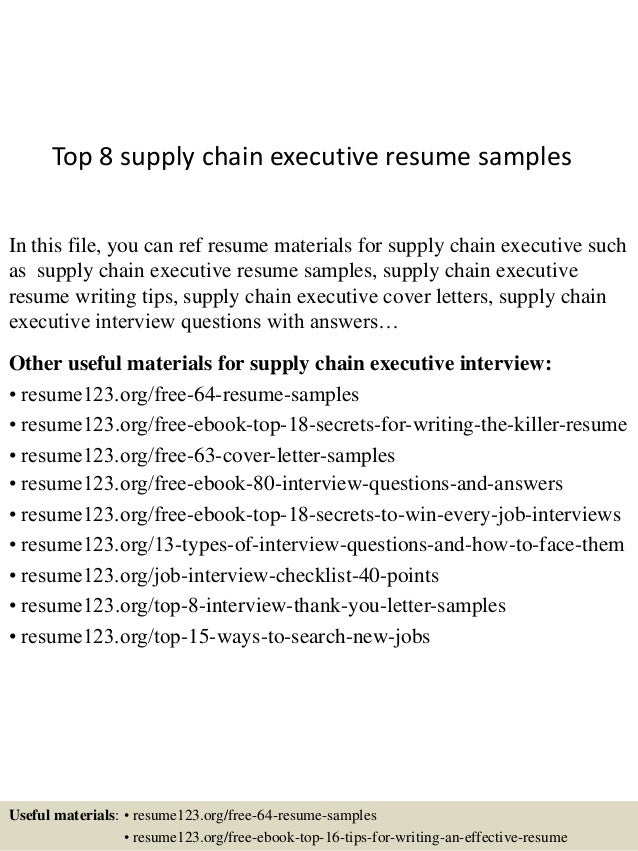 Top 8 supply chain executive resume samples