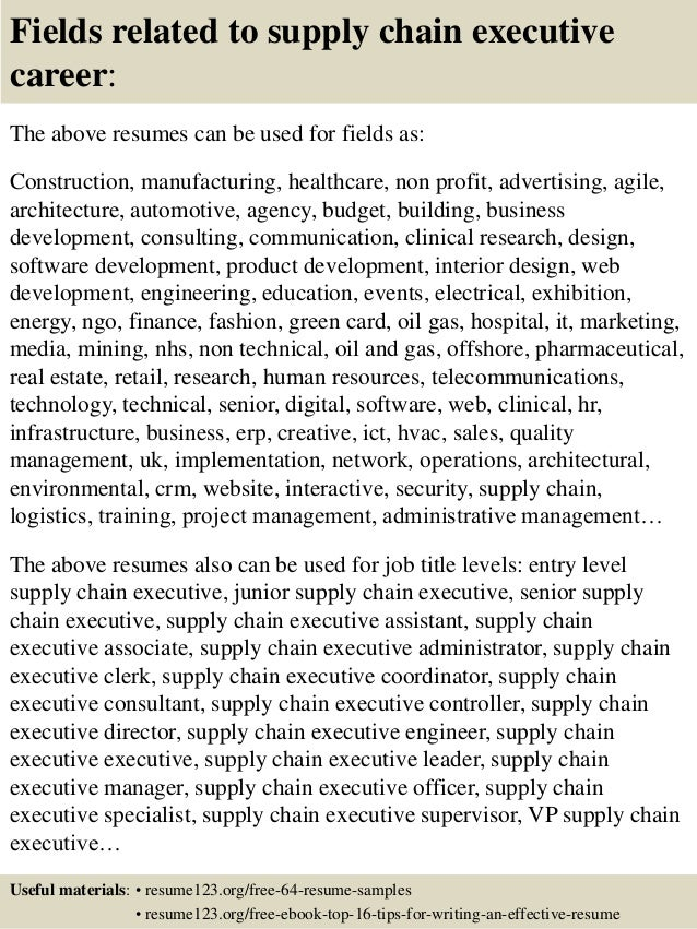 ... 16. Fields Related To Supply Chain ...  Supply Chain Resume Sample