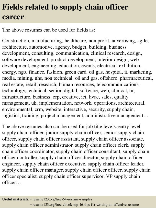 ... 16. Fields Related To Supply Chain Officer Career: The Above Resumes ...