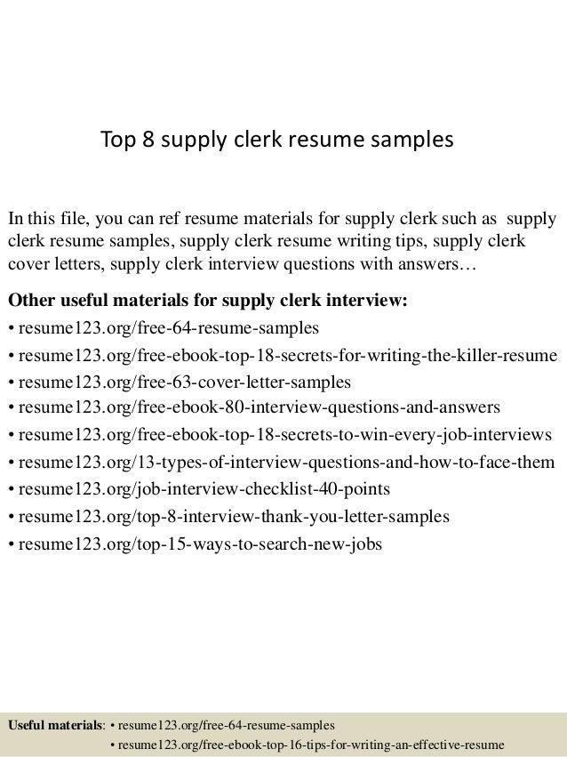 top 8 supply clerk resume samples