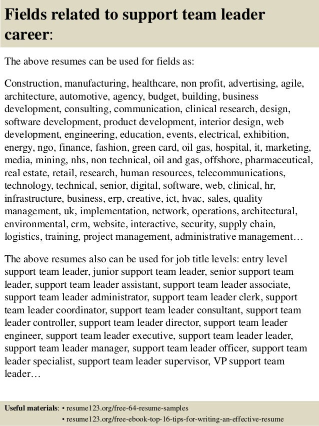 top 8 support team leader resume sles