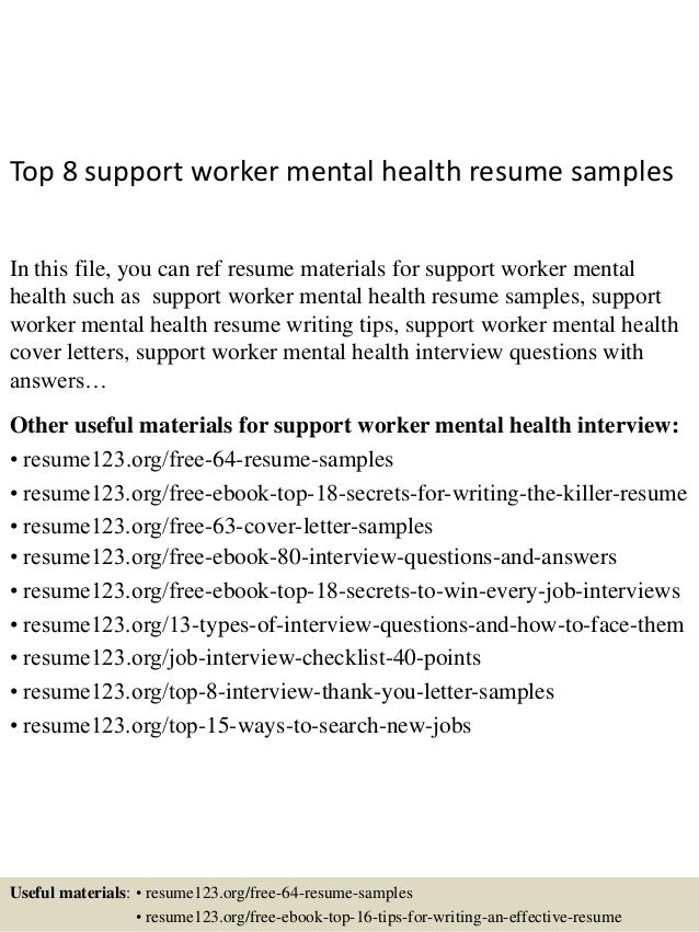 Mental Health Worker Resume Captivating Top8Supportworkermentalhealthresumesamples1638Cb1432821258