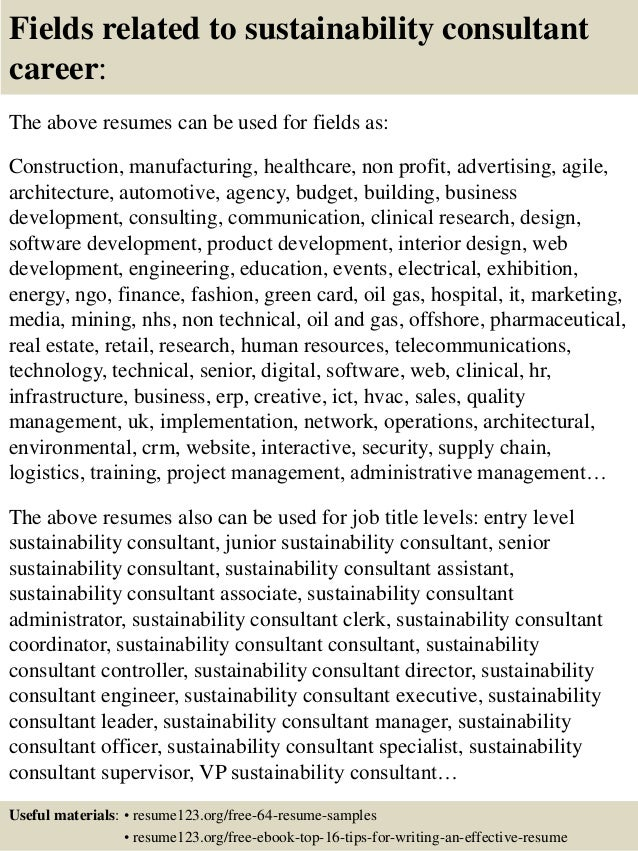 16 fields related to sustainability - Sustainability Officer Sample Resume