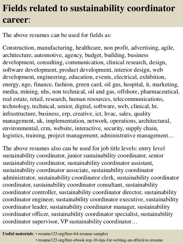 Top 8 sustainability coordinator resume samples
