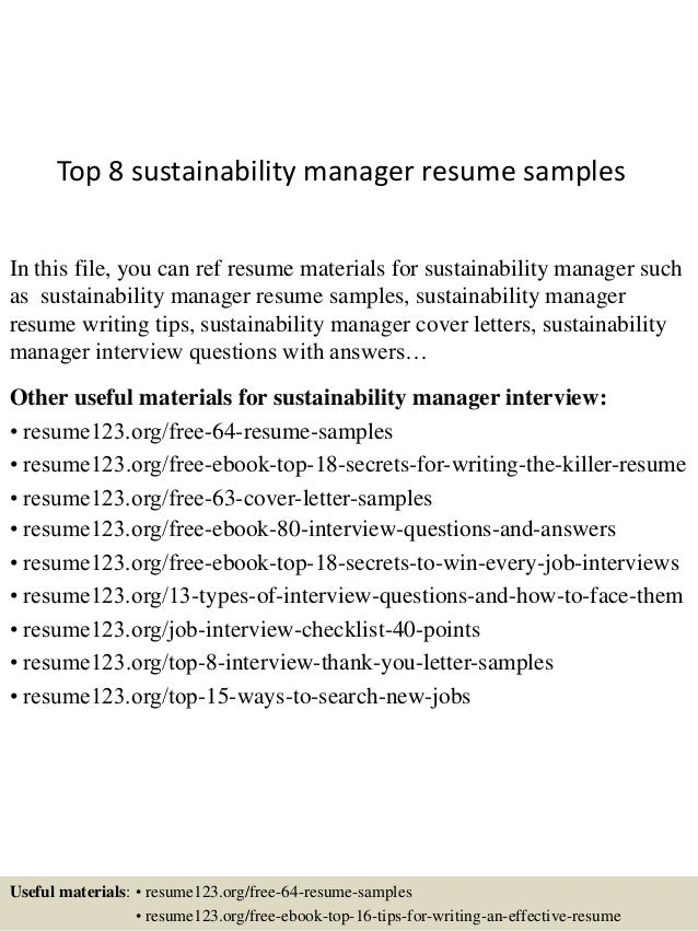 top 8 sustainability manager resume samples in this file you can ref resume materials for - Sustainability Officer Sample Resume