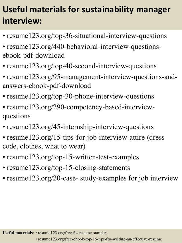 12 useful materials for sustainability manager - Sustainability Officer Sample Resume