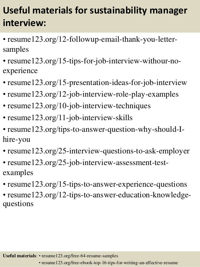 14 useful materials for sustainability manager - Sustainability Officer Sample Resume