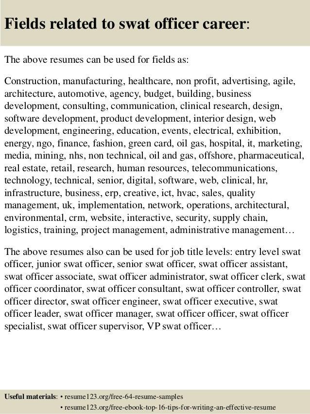 Top 8 swat officer resume samples