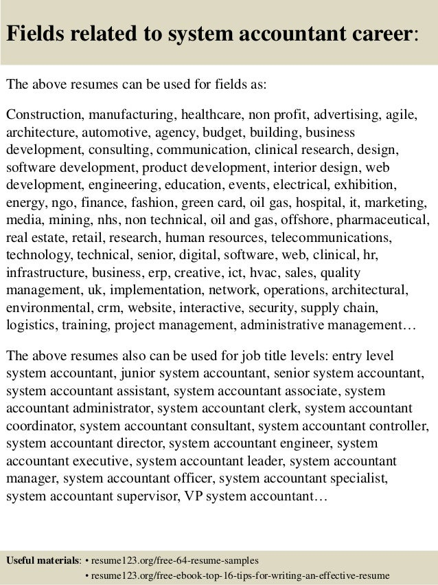 Top 8 system accountant resume samples