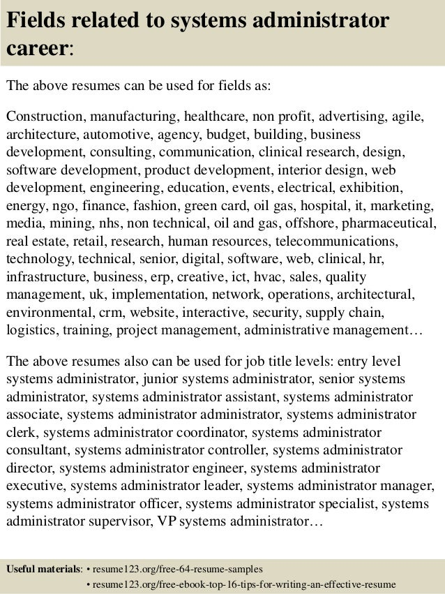 top 8 systems administrator resume samples
