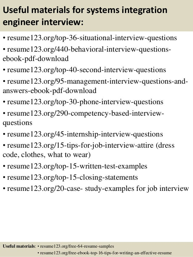 12 useful materials for systems integration engineer - Integration Engineer Sample Resume