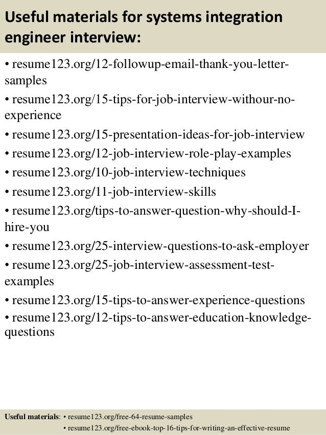 14 useful materials for systems integration engineer - Integration Engineer Sample Resume