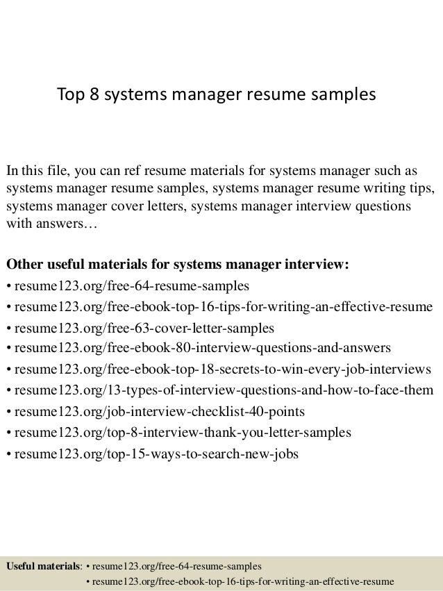 top 8 systems manager resume samples